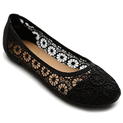 Ollio Women's Ballet Shoe Floral Lace Breathable Flat(5.5 B(M) US, Black)