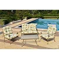 Mainstays Willow Springs 4-Piece Patio Conversation Set, Cream, Seats 4 from Mainstays