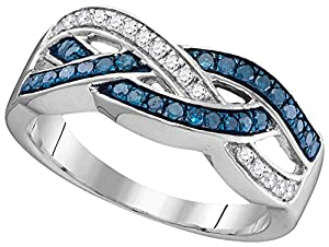 10kt White Gold Womens Round Blue Colored Diamond Crossover Band Fashion Ring (.33 cttw.)