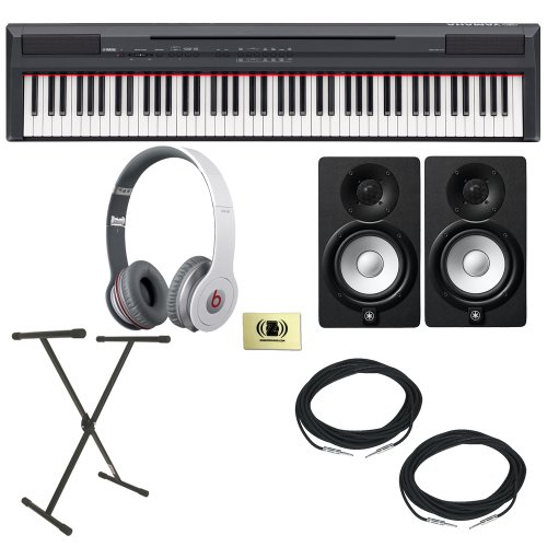 Yamaha P-Series P-105 88 Key Digital Piano Bundle With Beats By Dr. Dre 900-00012-01 Solo Hd On-Ear Headphones (White), 2 Yamaha Hs5 Speakers, 2 Conquest Sound Cables, Keyboard Stand And Custom Designed Zorro Sounds Cloth