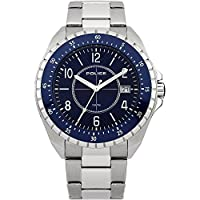 Police Miami Men's Quartz Watch with Blue Dial Analogue Display and Silver Stainless Steel Bracelet 13669JS/03M