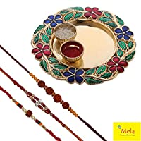 Rakshabandhan Rakhi for Brother - Set of 3 with Decorative Pooja Plate and Kumkum Chawal - By Mela
