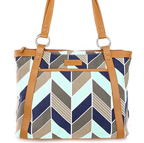 kailo-chic-casual-154-laptop-tote-navy-and-mint-herringbone-chevron