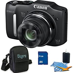 Canon PowerShot SX160 IS 16.0 MP Digital Camera with 16x Wide-Angle Optical Image Stabilized Zoom with 3.0-Inch LCD (Black) Deluxe Bundle With 4GB SDHC card , Dig Pro Custom Case , And 3 Piece Cleaning Kit