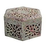 Hand Carved Hexagon Shaped Box Soapstone Carving Lattice Design Home Accent Gifting Decorative Table Top Accessory