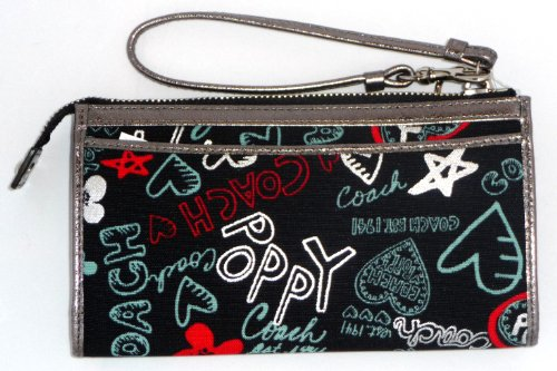 Coach Graffiti Hearts Poppy Signature Zip Wallet Clutch Wristlet Bag Black Multi