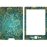 New Kindle 4 Ebook Skin Cover Vinyl Sticker Blue Gold Pattern 2011