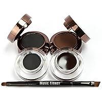 Music Flower NEW 4 in 1 Long Lasting Gel Eye Liner & Eyebrow Powder (2 Black and 2 Brown Gel / Eyebrow Powder)