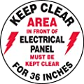 "Accuform Signs MFS840 Slip-Gard Adhesive Vinyl  Round Floor Sign, Legend ""KEEP CLEAR AREA IN FRONT OF ELECTRICAL PANEL MUST BE KEPT CLEAR FOR 36 INCHES/MANTENGA DESPEJADO EL AREA EN FRENTE DEL CUADRO ELECTRICO DEBE PERMANECER LIBRE POR 36 PULGADAS"", 8"" Diameter, Black/Red on White"