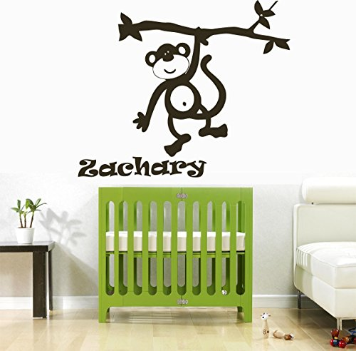 Wall Decal Vinyl Sticker Decals Art Decor Design Custom Name Monkey Animals Jungle Branch Baby Fun Kids Children Gameroom Nursery (R722) front-834643