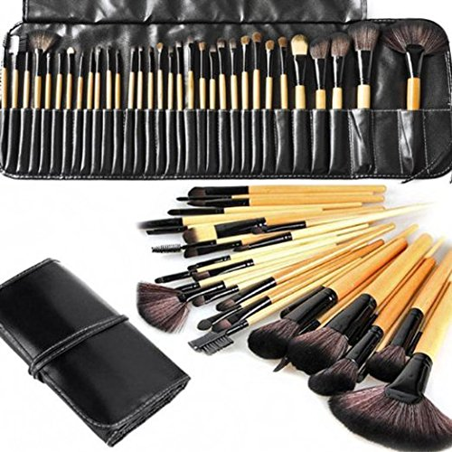 KLAREN 32 PCS Makeup Cosmetic Brush Set Kit Eyebrow Eyeshadow Blush (Beige) (Hair Brushes Cheap compare prices)