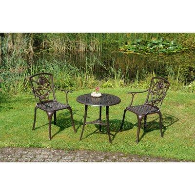 inko gartenm bel aluguss bistro set rose bronze mit arm braun. Black Bedroom Furniture Sets. Home Design Ideas