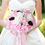 vLoveLife Wedding Bouquet White & Baby Pink Artificial Rose Flowers Bridal Bridesmaid Bouquets Handmade Posy Pearl Rhinestone Ribbon Decor