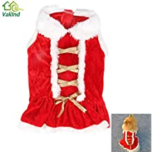 Alcoa Prime New Red Santa Christmas Pet Dogs Dress With Doll Colar Unisex Style Dog' S Dress Clothing For Dog...