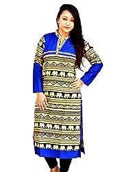 Aarti Collections Women's Cotton Kurti (AC-852B_Blue Black Yellow_X-Large)
