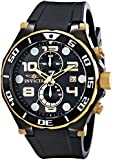 Invicta Pro Diver Men's Quartz Watch with Black Dial  Chronograph display on Black Pu Strap 15396