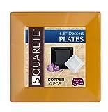 Squarete 6.5'' inch Copper Square Dessert Plates Hard Plastic Elegant Disposable 10 Dessert Plates Per Package Pack Of 1