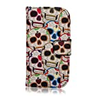 Superfect White Wallet Magnetic Closure PU Leather Case Flip Cover for Samsung Galaxy S3mini 8190 SIIImini i8190 GT-i8190 T-Mobile AT&T Colorful Blue Purple Orange Red Skull Mysterious Style Landscape Protective Back Skin Shell Folio Case with Card Slots