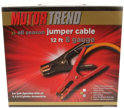 Motor Trend MTA812-CCA 12-Foot Jumper Cables with Extended Clamps, 500-AMP