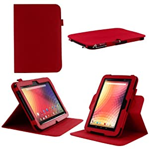 rooCASE Google Nexus 10 Dual-View Multi Angle (Red) Folio Case - Support Landscape / Portrait / Typing Stand / Auto Sleep and Wake