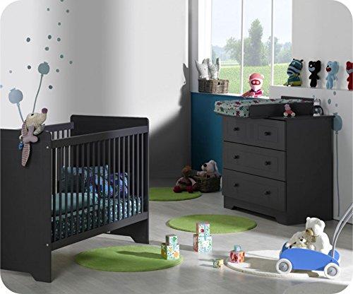 Mini Babyzimmer Oslo Anthrazit-grau mit Wickelfläche