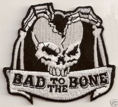BAD TO THE BONE SKULL Embroidered FUN Biker Vest Patch!