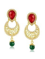 Sukkhi Glittery Gold Plated Australian Diamond Dangle & Drop Earrings For Women
