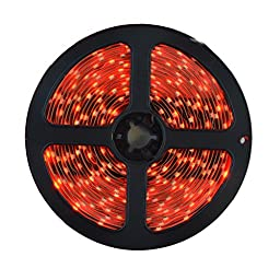 HitLights LED Light Strip - Red SMD 3528 - 300 LEDs, 16.4 Ft Roll - 12V DC - 82 Lumens / 1.5 Watts per Foot - Indoor IP-30 - Adhesive Backed for Easy Installation - LED Tape Light