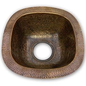 Houzer HW-LAG1BF Hammerworks Lager 6-Inch Deep Bar or Prep Sink, Antique Copper