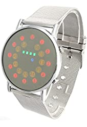 YouYouPifa Red+Yellow+Green+Blue LED Light Stainless Steel Fashion Wrist Watch