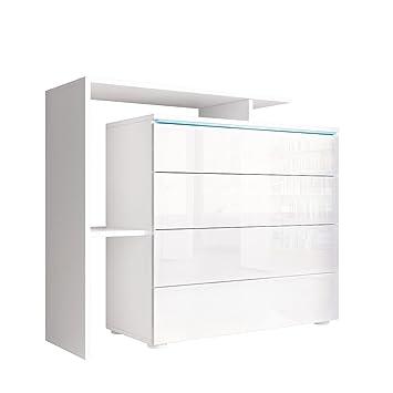Kommode Sideboard Lissabon V2 in Weiß / Weiß Hochglanz