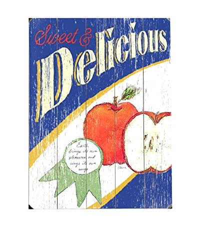 Sweet & Delicious Apples Wood Wall Décor  [Blue/Red]
