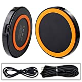 EARLYBIRD SAVINGS Qi Mini Wireless Charger Pad For Nokia Lumia 920 820, LG Google Nexus 4 5 7, Samsung Galaxy S3 S4 Note 2 3 (Black + Orange)