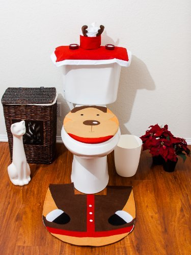 Christmas Bathroom Toilet Cover and Rug Set - Santa Reindeer