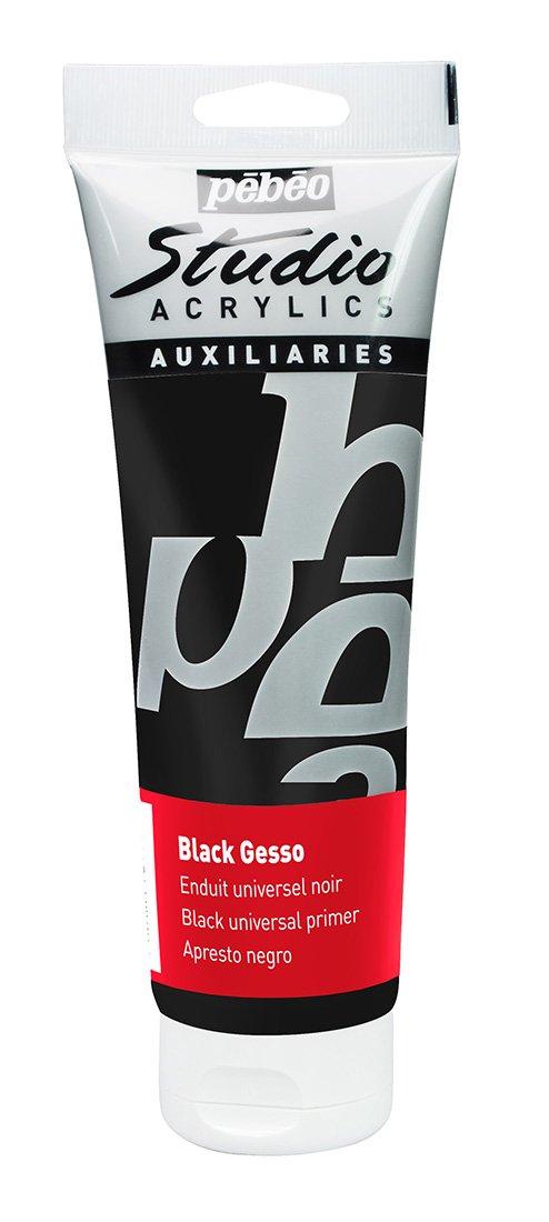 PEBEO Studio Acrylics Auxiliaries, Gesso Universal Primer, 250 ml - Black (Color: Black, Tamaño: 250 ml)