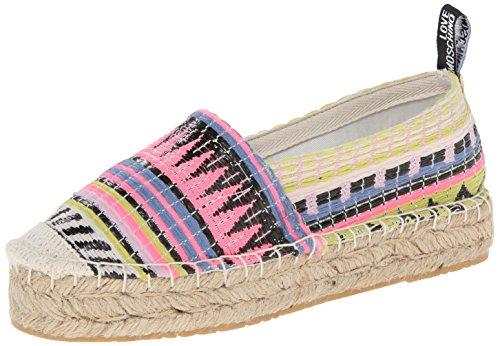 Espadrillas Love Moschino in tessuto, particolare stampa a fasce multicolor, 40