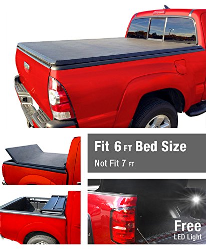 Premium TriFold Tonneau Truck Bed Cover For 82-13 Ford Ranger (NOT Splash/Flareside); 94-11 Mazda Pickup 6 feet (72 inch) Trifold Truck Cargo Bed Tonno Cover (NOT For Stepside) (Rollnlock Truck Bed Cover compare prices)