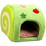 可愛い ロール ケーキ 型 ベッド ハウス セット クッション 付き 小型 犬 ベッド 猫 小動物 KB-ROLLBED (抹茶ロール(グリーン))