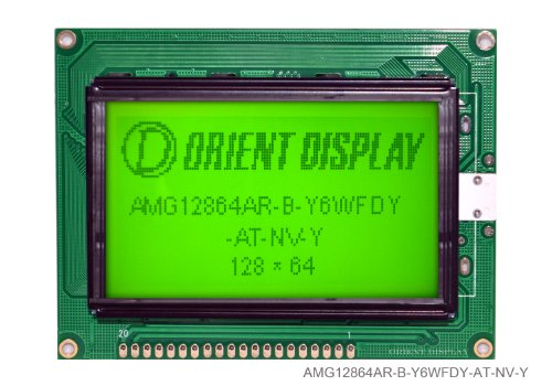 "2.9"" 128X64 Black On Yellow Green With Yellow Backlight Graphic Lcd Module Amg12864Ar-B-Y6Wfdy-At-Nv-Y"