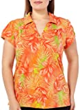 Caribbean Joe Plus Graceful Tangle Polo Top