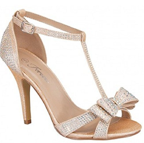 Forever Link Alina-64 Rhinestone Glitter TStrap Bow Detail Formal Heel (6.5, Champagne)