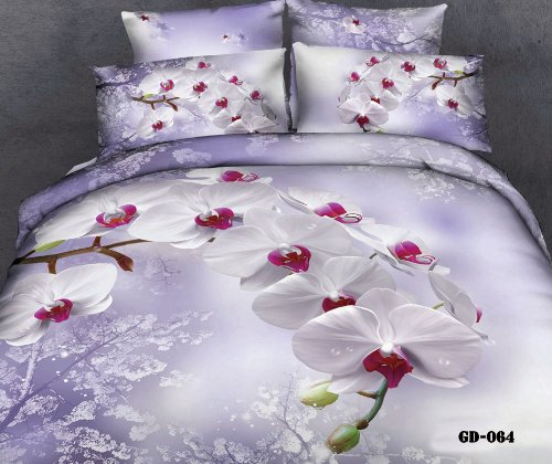 Queen King Size 100% Cotton 7-Pieces 3D White Butterfly Orchid Phalaenopsis Purple Floral Prints Fitted Sheet Set With Rubber Around Duvet Cover Set/Bed Linens/Bed Sheet Sets/Bedclothes/Bedding Sets/Bed Sets/Bed Covers/ Comforters Sets Bed In A Bag (Queen front-941918