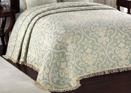 Lamont Home All Over Brocade Bedspread, Linen, King front-892627