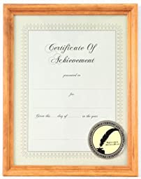 Gallery Solutions Natural Wood Document Frame, 8-1/2 by 11-Inch