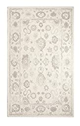 Area Rug, Ivory/Sliver Vintage Distressed Wool Rugs Carpet, 2-Foot X 4-Foot