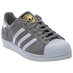 adidas Originals Men\'s Superstar Suede Shoe,Solid Grey/White/Solid Grey,9.5 M US