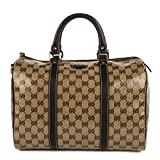 Gucci Original GG Boston Bag Crystal Brown Canvas Leather Joy Handbag