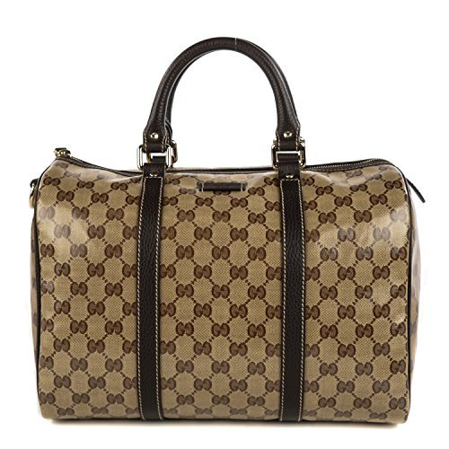 Gucci Original GG Boston Bag Crystal Brown Canvas Leather Joy Handbag