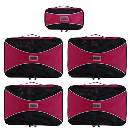 PRO Packing Cubes | 5 Pc Value Set | Organizers & Compression Travel Cube System for Backpacking & Luggage (Hot Pink) (Packing Made Simple compare prices)