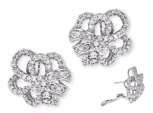 C.Z. Diamond (.925) S/S Open Designed Bridal Earrings (Nice Holiday Gift, Special Black Firday Sale)
